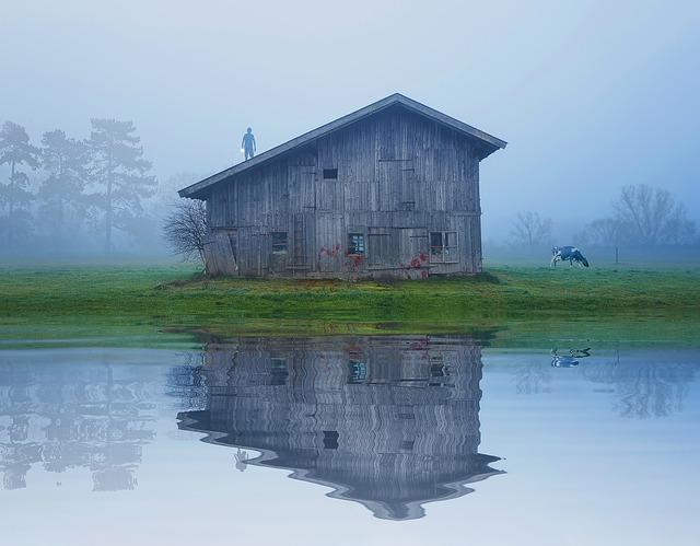 Drevená chata na brehu jazera v hmle.jpg